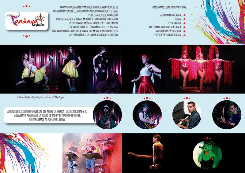 Diseño gráfico de catálogo para Orquesta Tandava página interior