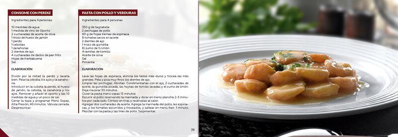 Diseño gráfico maquetación emeye recetario de cocina ollas