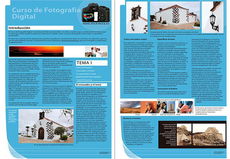 Diseño maquetacion emeye folleto curso fotografia