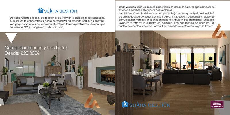 Maquetación de catálogo promocional inmobiliaria Las Carcavas