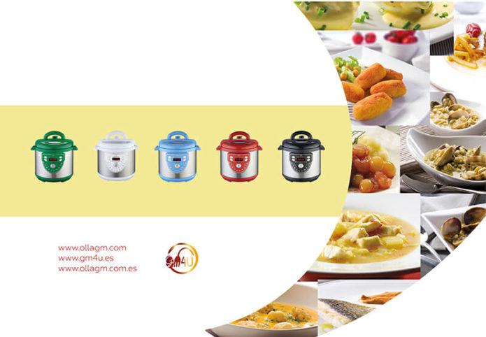 Maquetacion diseño contraportada libro recetario cocina olla gm