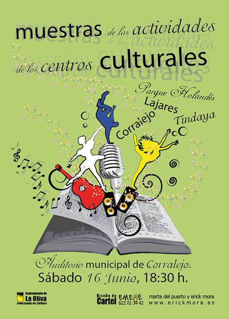 Diseño Gráfico de carteles para Centro cutural de Corralejo por Emeyé