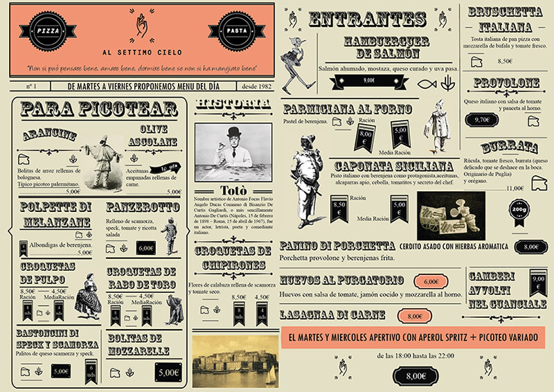 Diseño de carta restaurante Al Settimo Cielo Frente