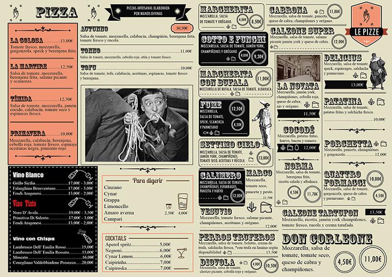 Diseño de carta restaurante Al Settimo Cielo reverso