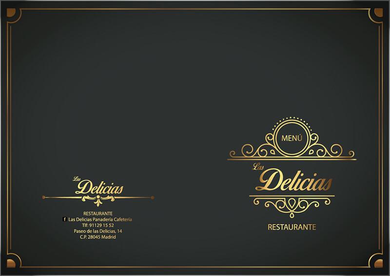 Diseño de carta restaurante Las Delicias Potada y contraportada