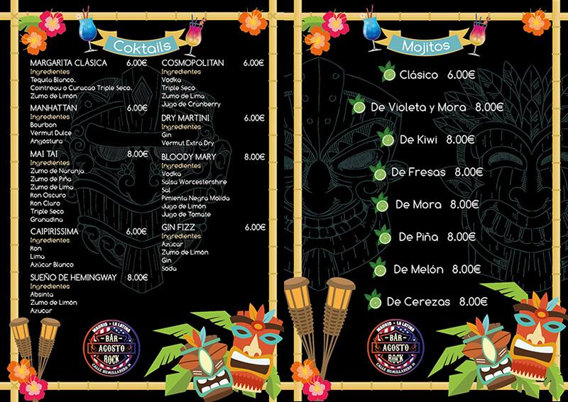 Diseño emeye Carta cocteles Bar Agosto