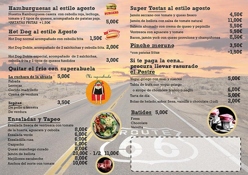 Diseño emeye Carta comidas Bar Agosto reverso