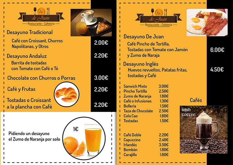 Diseño emeye carta restaurante De Juan cafetería