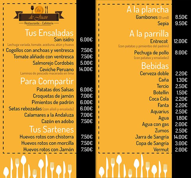 Diseño emeye carta restaurante De Juan