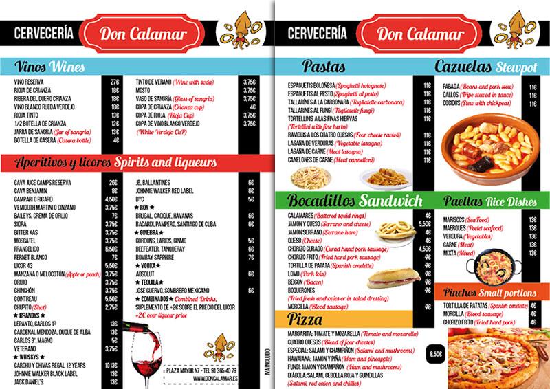 Diseño emeye carta restaurante Don Calamar Bebidas y comidas