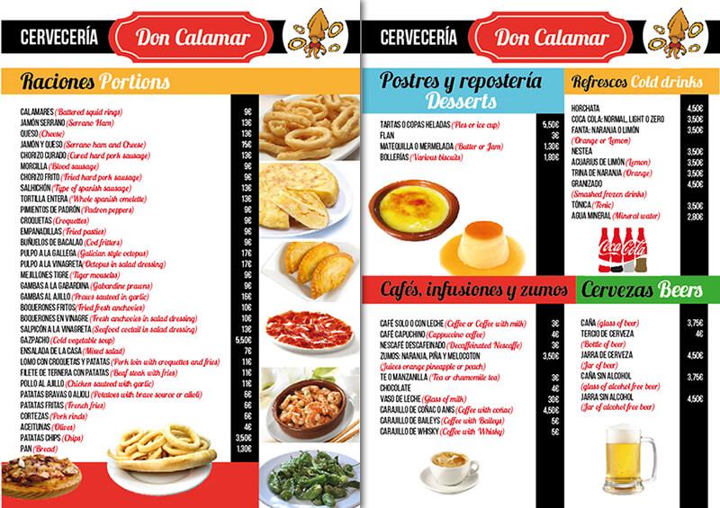 Diseño emeye carta restaurante Don Calamar Postres