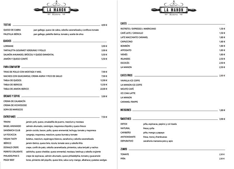 Diseño emeye carta restaurante La Manon Cafes