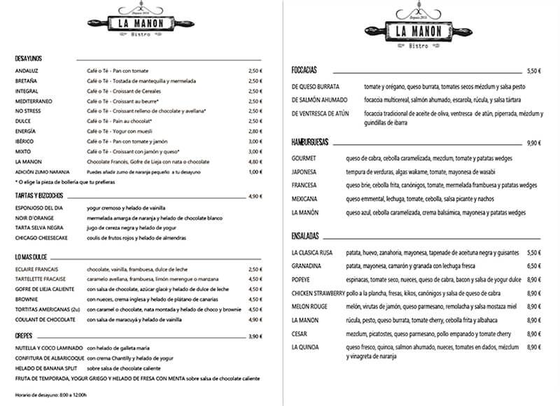 Diseño emeye carta restaurante La Manon Desayunos