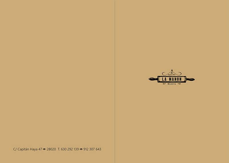 Diseño emeye carta restaurante La Manon portada