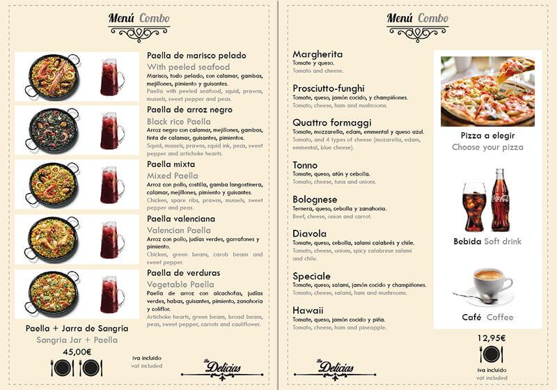 Diseño emeye carta restaurante Las Delicias Menus