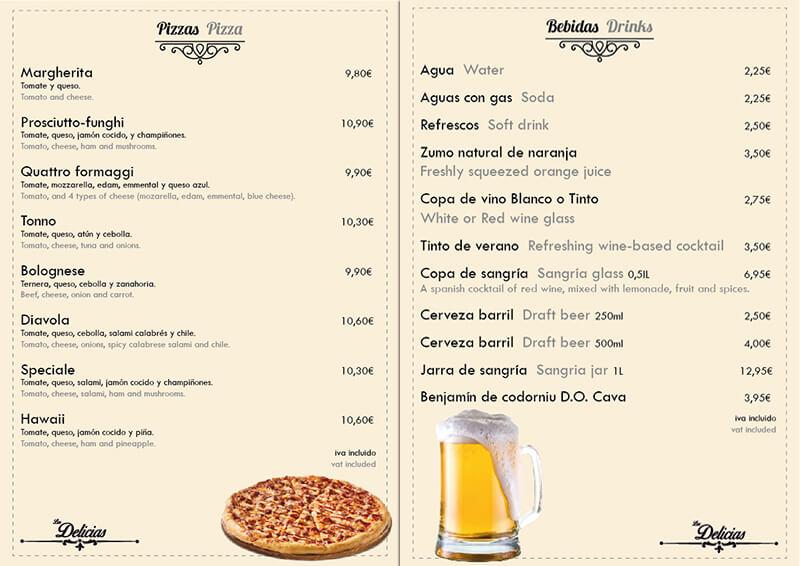 Diseño emeye carta restaurante Las Delicias Pizzas