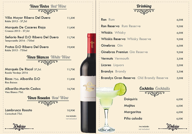 Diseño emeye carta restaurante Las Delicias Vinos
