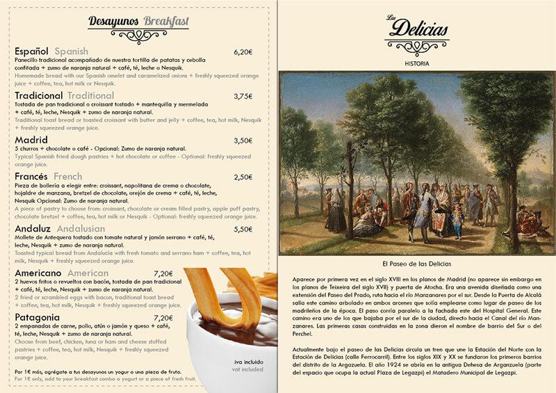 Diseño emeye carta restaurante Las Delicias desayunos