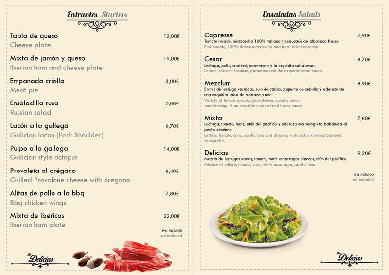 Diseño emeye carta restaurante Las Delicias entrantes