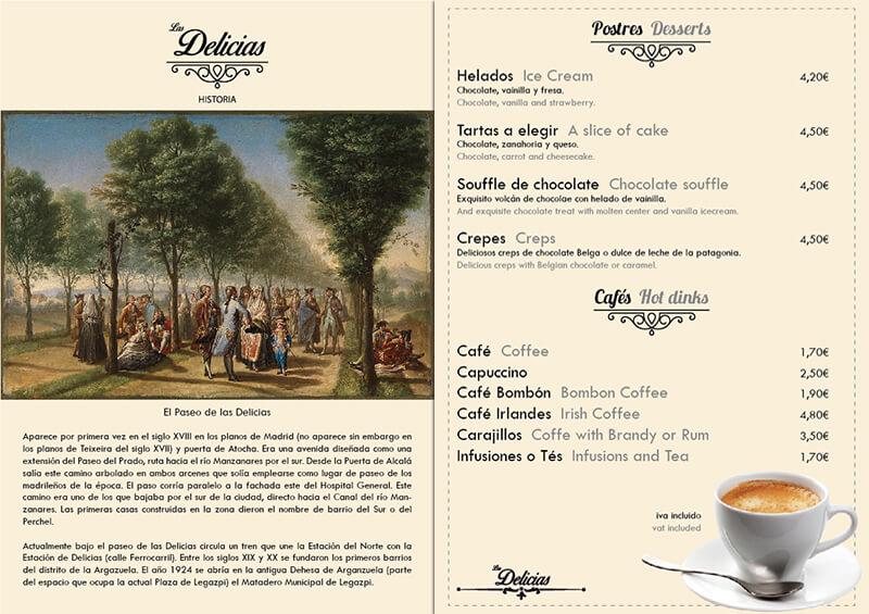 Diseño emeye carta restaurante Las Delicias historia