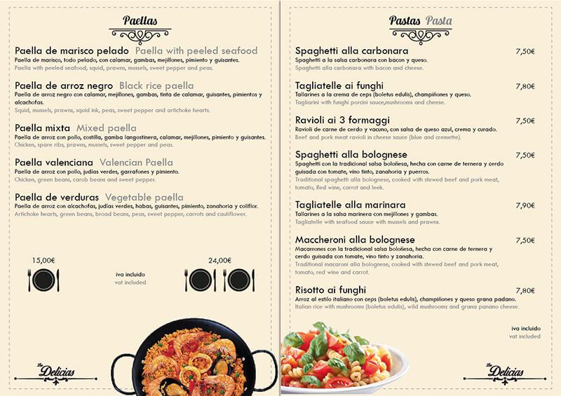Diseño emeye carta restaurante Las Delicias paellas