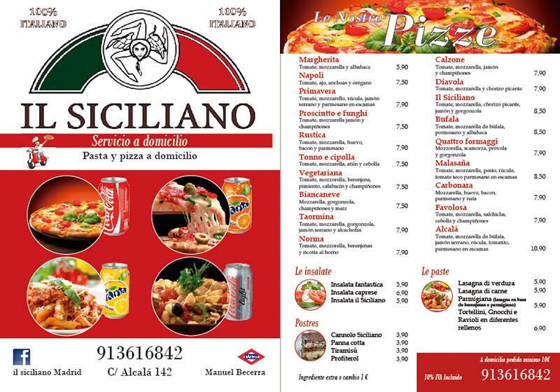 Diseño gráfico de carta para pizzería il siciliano