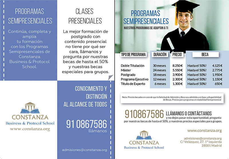Diseño gráfico Flyer Constanza Business and protocol school