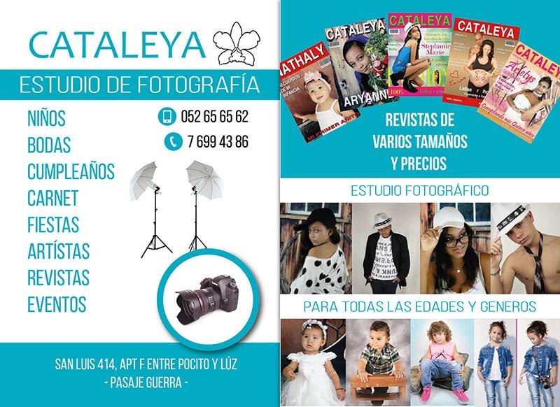 Diseño gráfico Flyer Estudio de fotografía Cataleya emeye