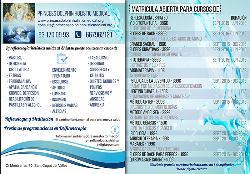 Diseño gráfico Flyer Princes Dolphin holistic medical emeye