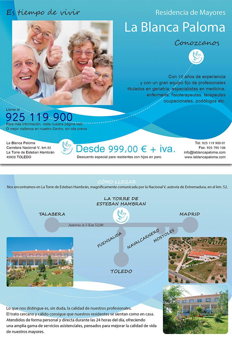 Diseño gráfico Flyer residencia ancianos la blanca paloma emeye