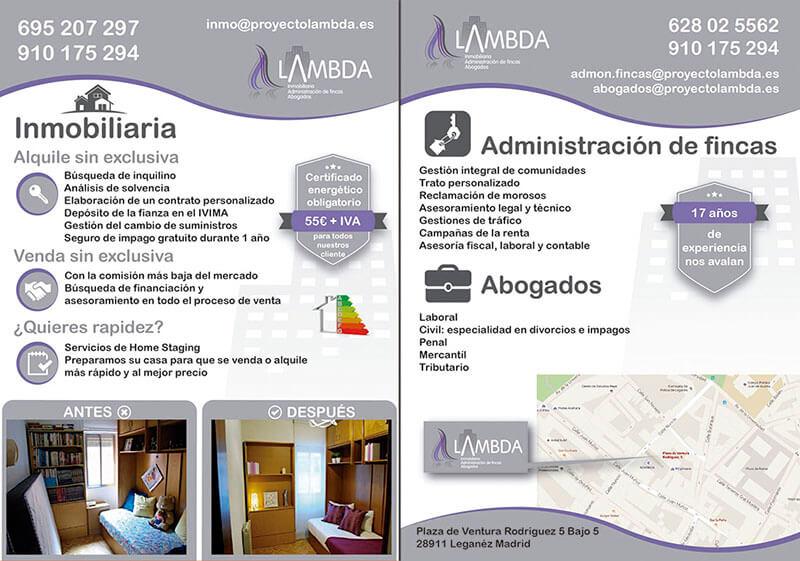 Diseño gráfico de Flyer para Lambda inmobiliaria y administración de fincas