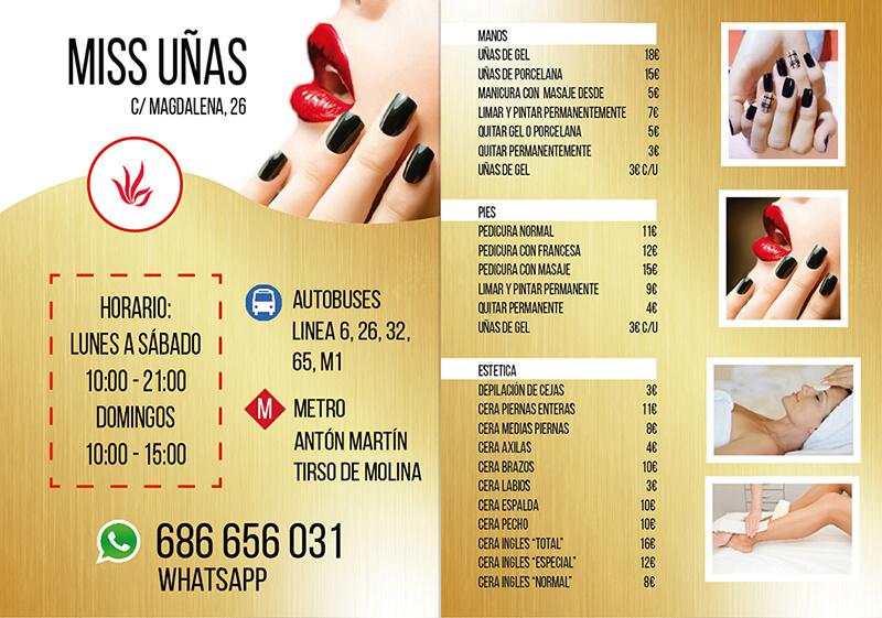 Diseño gráfico de Flyer para Miss Uñas
