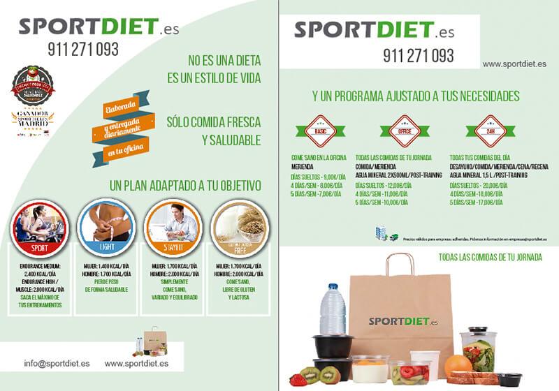 Diseño gráfico de Flyer para Sport diet empresa de nutrición