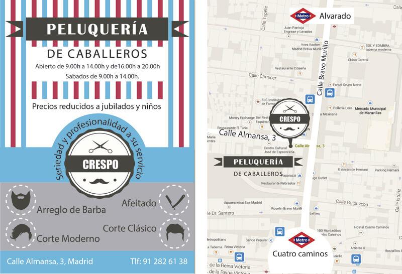 Diseño gráfico de Flyer para barbería de caballeros crespo
