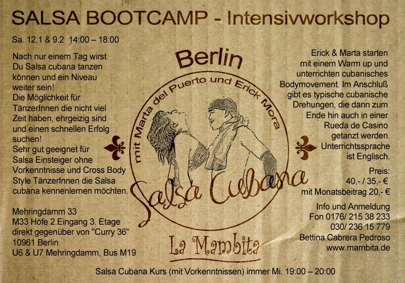 Diseño gráfico de Flyer para escuela de baile la mambita en Berlin