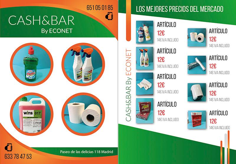 Diseño gráfico de Flyer para tienda Cash&bar