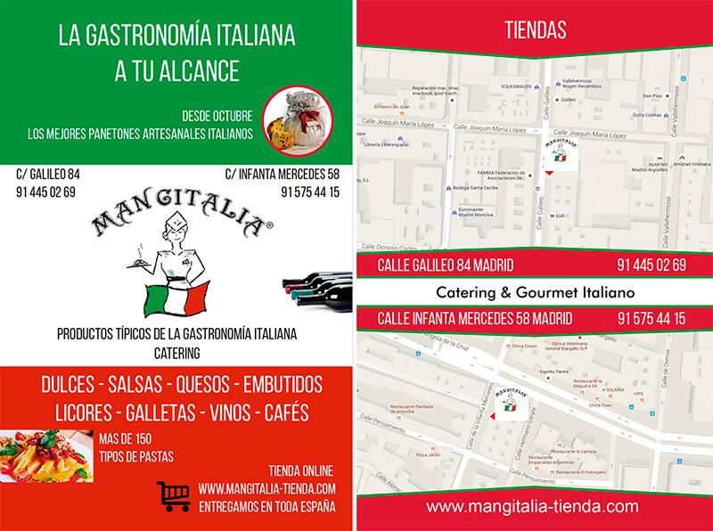 Diseño gráfico de Flyer para tienda italiana Mangitalia