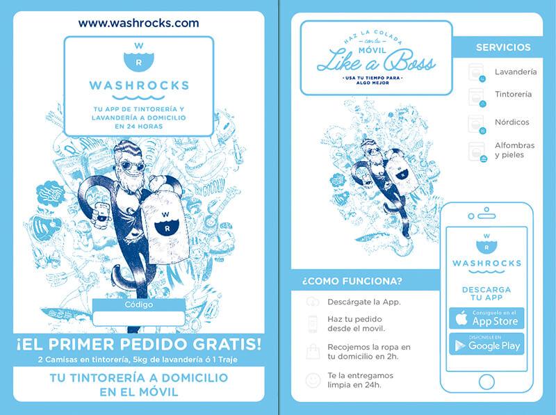 Diseño gráfico de flyer para Lavanderia WashRock