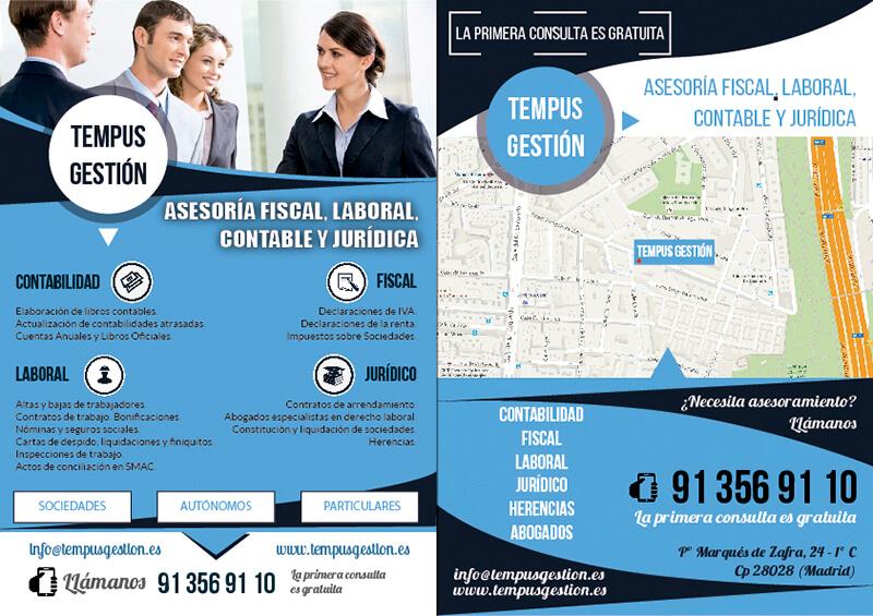 Diseño gráfico de flyer para Tempus Gestión Asesoria fiscal laboral