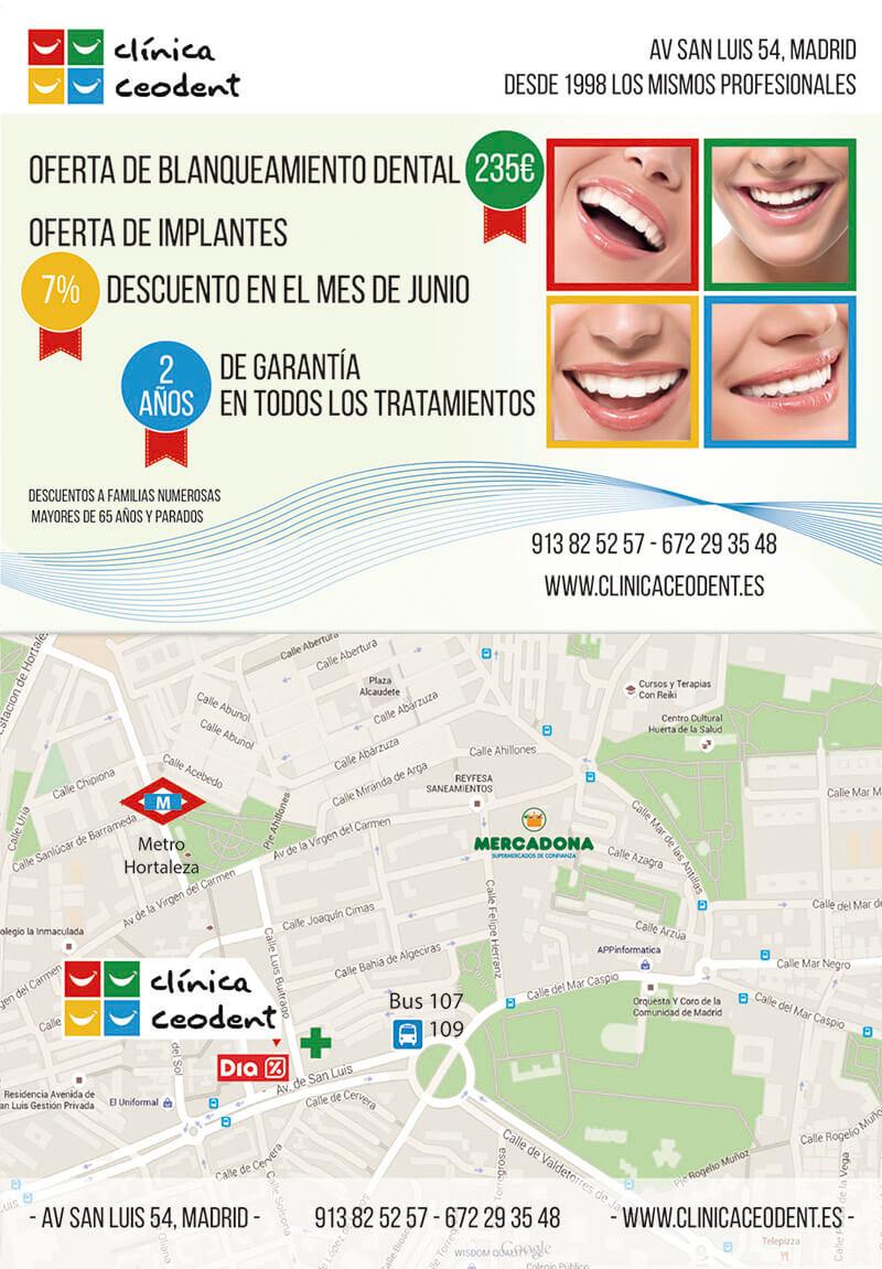 Diseño gráfico flyer clinica dental Ceodent emeye