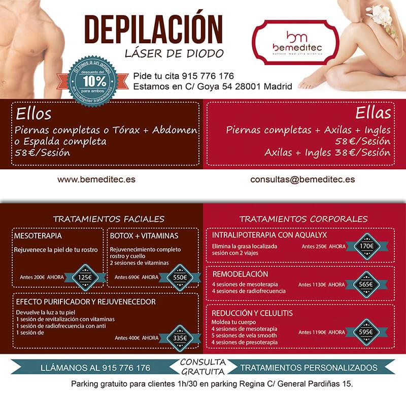 Diseño gráfico flyer clinica depilación Bemeditec emeye