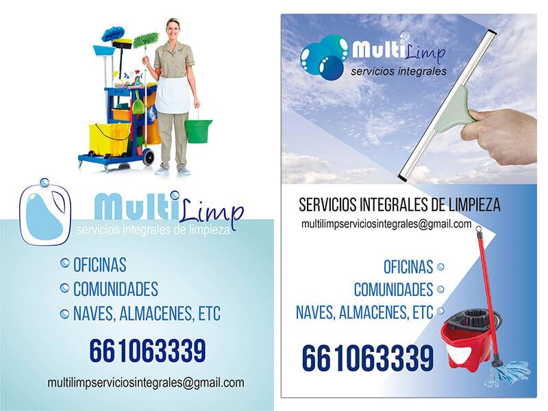 Diseño gráfico flyer empresa limpieza Multilimp emeye