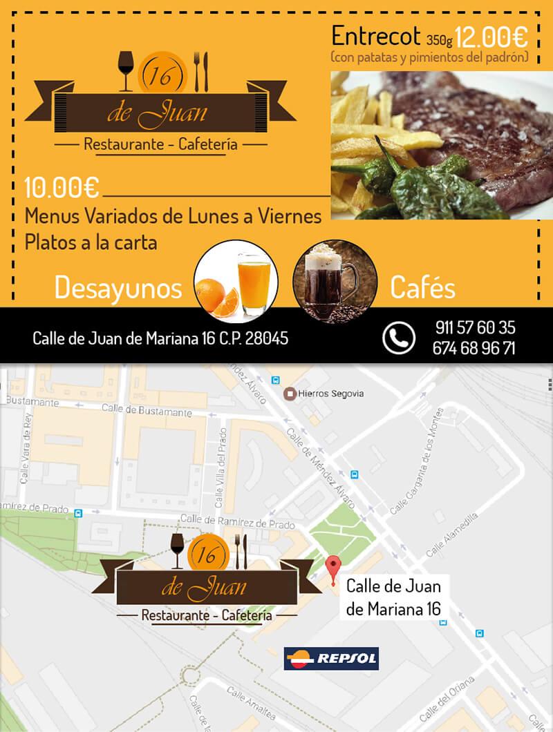 Diseño gráfico flyer restaurante de Juan emeye