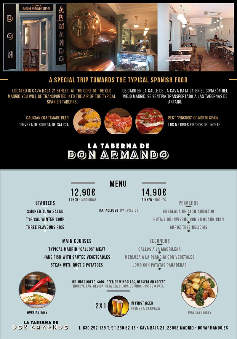 Diseño gráfico flyer restaurante don armando