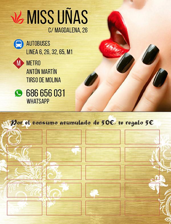 Diseño Tarjeta de visita Miss Uñas emeye