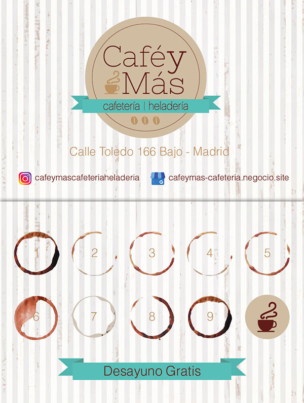 Diseño de Tarjetas de fidelizacion cafetría heladería Café y Más-01