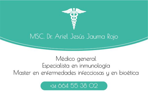 Diseño tarjeta visita emeye Ariel Médicina general
