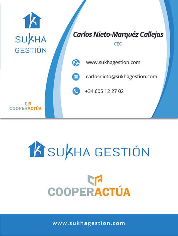 Tarjetas inmobiliaria Sukha Gestión-cooperactua
